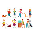 kids with pets kid hug pet child love animals vector image