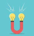 Magnet with light bulbs vector image