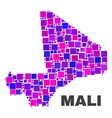 mosaic mali map of square elements vector image vector image