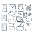 office paper laptop screen and phone set vector image vector image