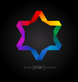 Rainbow Origami David Star on black background vector image vector image