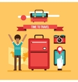 Ready for summer vacation Man with travel bag vector image vector image