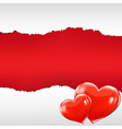 Red Torn Poster With Hearts vector image vector image