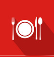 restaurant flat icon with red background vector image
