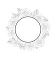 rose flower banner wreath outline vector image