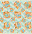 seamless pattern with gift boxes in the waves vector image vector image