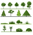 Set of abstract trees shrubs grass on a white vector image