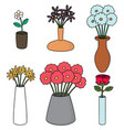 set of flower vase vector image vector image