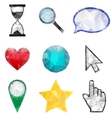 Set of polygonal icons vector image vector image