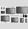 set of realistic tv computer monitor laptop vector image vector image
