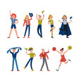smiling sport fans and supporters characters vector image