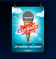summer karaoke party flyer design with microphone vector image