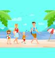 summer vacation on beach cartoon vector image