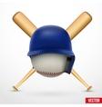 symbol a baseball helmet ball and two bats vector image vector image