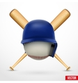 Symbol of a baseball Helmet ball and two bats vector image vector image
