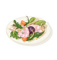 tasty salad with seafood and vegetables on plate vector image