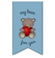 teddy bear with big heart -label vector image vector image