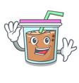 waving bubble tea character cartoon vector image vector image