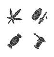 weed products glyph icons set cannabis industry vector image