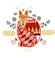 wood fox with handmade ornament scandinavian vector image vector image