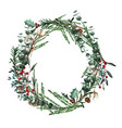 wreath with pine branches and red berries cotton vector image vector image