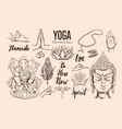 yoga set isolated hand drawn vector image