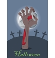 Zombie hand appears from grave with stone vector image vector image