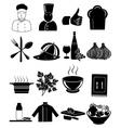 Chef restaurant icons set vector image