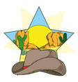 cowboy hat on star frame vector image