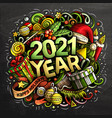 2021 hand drawn doodles new year objects and vector image vector image