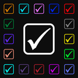 A check mark icon sign Lots of colorful symbols vector image vector image