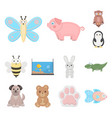 an unrealistic cartoon animal icons in set vector image vector image