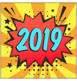 bright retro comic speech bubble with 2019 number vector image