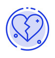 broken love heart wedding blue dotted line line vector image vector image