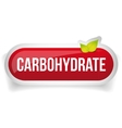 Carbohydrate button red vector image