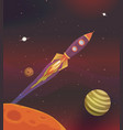cartoon spaceship flying into galaxy vector image