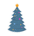 christmas tree icon for holiday card vector image vector image
