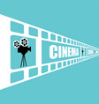 cinema poster template on blue background tape vector image vector image
