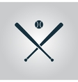 crossed baseball bats and ball vector image vector image