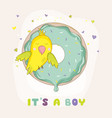 Cute parrot on a colorful donut baby shower card vector image