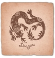 Dragon Chinese Zodiac Sign Horoscope Vintage Card vector image vector image