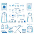 dry cleaning and washing ironing and drying or vector image vector image