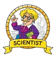 Emblem of funny scientist or inventor vector image vector image