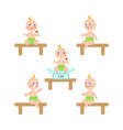 flat baby infant with nipple and diaper set vector image vector image