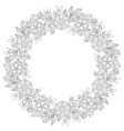 Floral zentangle doodles wreath in ornamental vector image