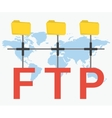 FTP letters and three folders vector image vector image