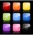 Glossy blank buttons in color variations vector