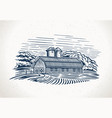 graphic landscape with farm and field graphic vector image vector image