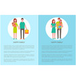 happy family does shopping parents and girl vector image vector image
