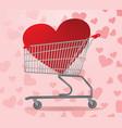heart inside shopping cart vector image vector image